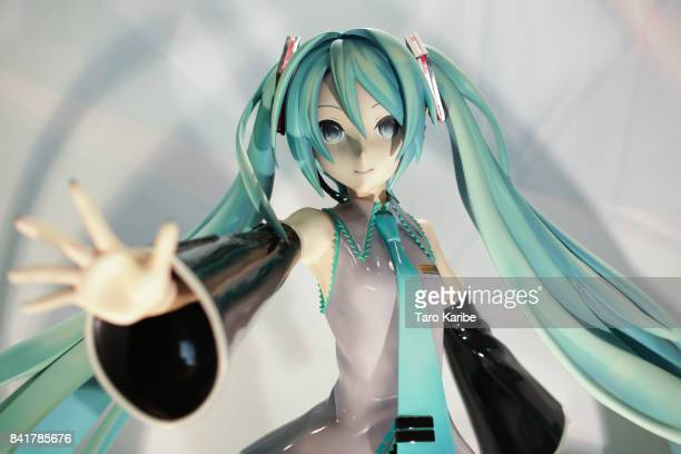 A lifesize figure of Hatsune Miku displayed on September 1 2017 in Chiba Japan Hatsune Miku singing voice synthesizer developed by music software...