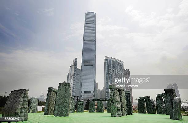 A lifesize interactive inflatable sculpture of Stonehenge called 'Sacrilege 2012' by English contemporary artist Jeremy Deller on display as part of...