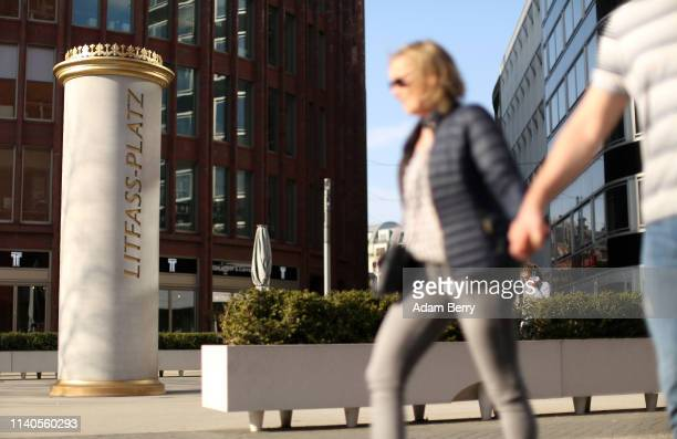 A lifesize model of an advertising column indicating a square named in 2011 in honor of Berlin printer Ernst Litfass is seen on April 04 2019 in...