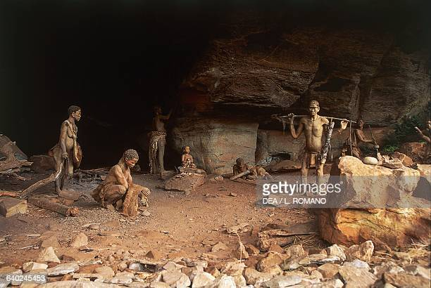 Lifesize reconstruction in the Battle Cave depicting how the San people used to live Giant's Castle game reserve Central Drakensberg South Africa