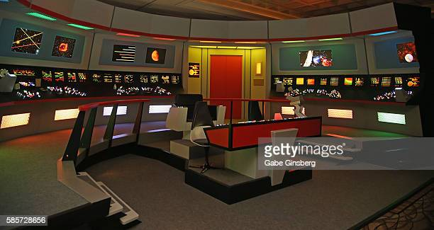 A lifesize replica of the bridge from the USS Enterprise from the Star Trek television franchise is displayed during the 15th annual official Star...