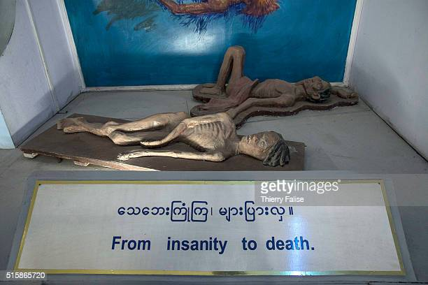 A lifesize representation of dead drug addicts is displayed at the Drug Elimination Museum in Yangon The museum built on three floors displays...
