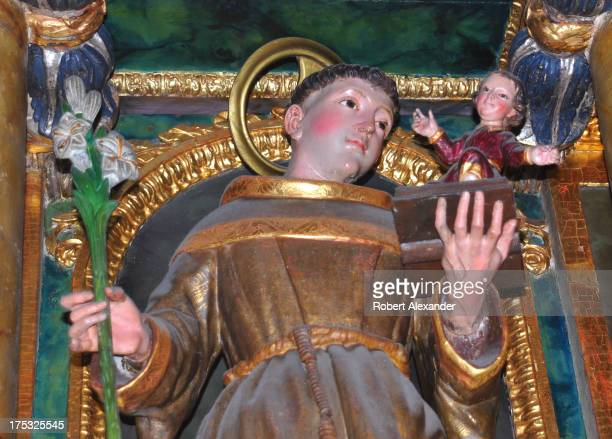 A lifesize wooden statue of St Anthony of Padua is among the 18th century statues inside Mission San Francisco de Asis or Mission Dolores in San...
