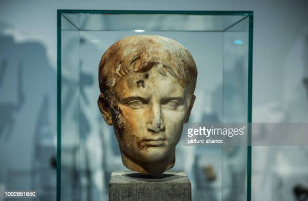 A lifesize youthful portrait head is pictured in a glass cabinet in Mainz Germany 16 May 2017 Marking the 70th birthday of the state of...
