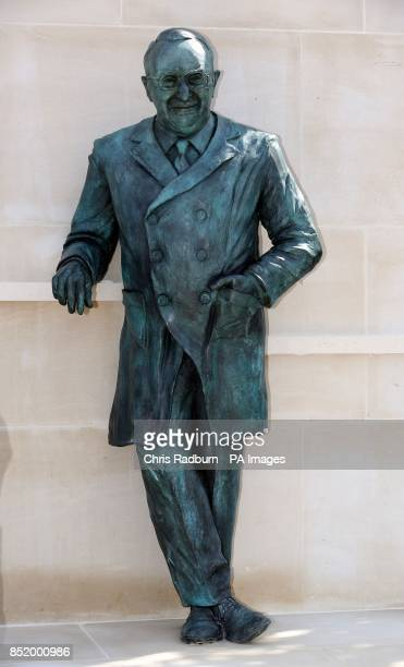 A lifesized bronze statue of Professor Sir Ludwig Poppa Guttmann is unveiled during a ceremony at at Stoke Mandeville hospital in Buckinghamshire