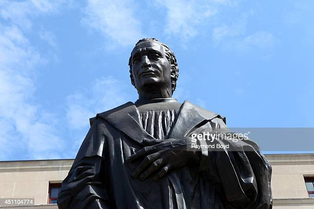 A lifesized Christopher Columbus statue stands outside Columbus City Hall on May 16 2014 in Columbus Ohio