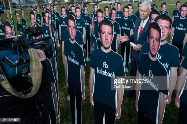Life-sized cutouts of Facebook CEO Mark Zuckerberg sit on the lawn of the U.S. Capitol on April 10, 2018 in Washington, DC. The advocacy group Avaaz...