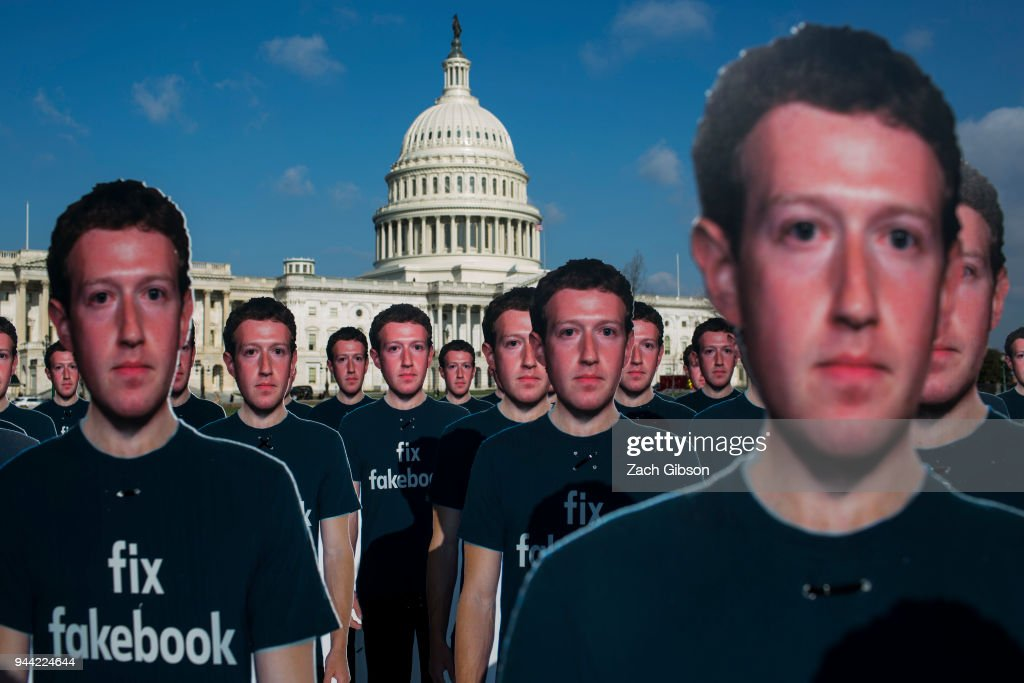 100 life-sized cutouts of Facebook CEO Mark Zuckerberg sit on the lawn of the U.S. Capitol on April 10, 2018 in Washington, DC. The advocacy group Avaaz placed the cutouts on the lawn to bring attention to the alleged hundreds of millions of fake accounts still spreading disinformation on Facebook ahead of Zuckerberg's hearing before the Senate Commerce, Science, and Transportation and Senate Judiciary Comittees.