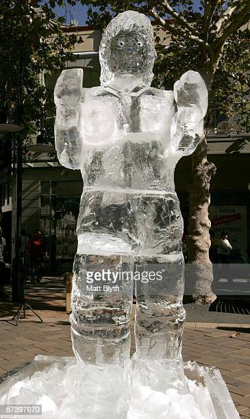A lifesized ice sculpture of Parramatta Eels NRL player Tim Smith is unveiled at Church Street Mall on April 22 2006 in Sydney Australia