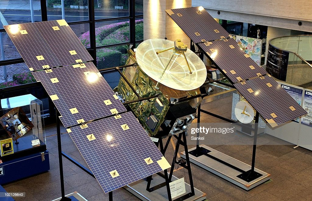 A life-sized model of the Japanese space probe Hayabusa is on display at the JAXA Sagamihara campus on June 13, 2010 in Sagamihara City, Japan. The space probe lit up the skies of the Australian outback when it landed on Monday. The probe's purpose was to bring back rock samples after a seven year journey to an asteroid.