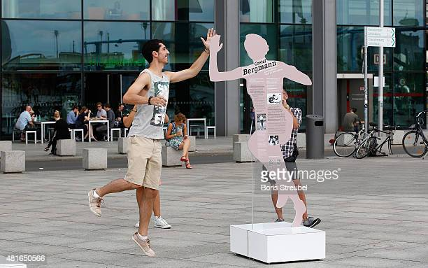 Lifesized sculptures of jewish athletes are pictured during the exhibition opening 'Between Success And Persecution' at Washingtonplatz on July 23...
