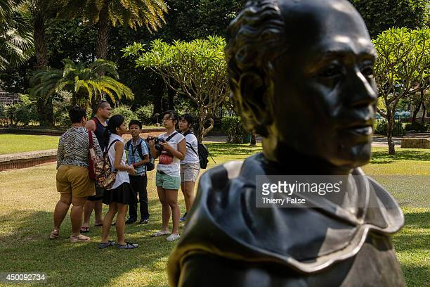 Lifesized statues of three of the Philippines' collectively known heroes the GomBurZa priests stand in Fort Santiago park The priests were accused to...