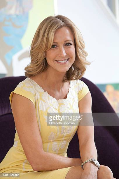 Lifestyle anchor Lara Spencer poses at home for New York Post on April 4 2012 in Riverside Connecticut Purple mohair chair designed by Warren Planter