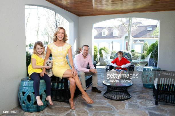 Lifestyle anchor Lara Spencer poses at home with daughter Kate husband David Haffenreffer and son Duff for New York Post on April 4 2012 in Riverside...