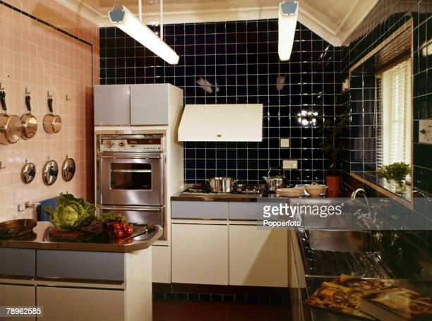 1967 A modern kitchen from the 1960's with all tiled walls