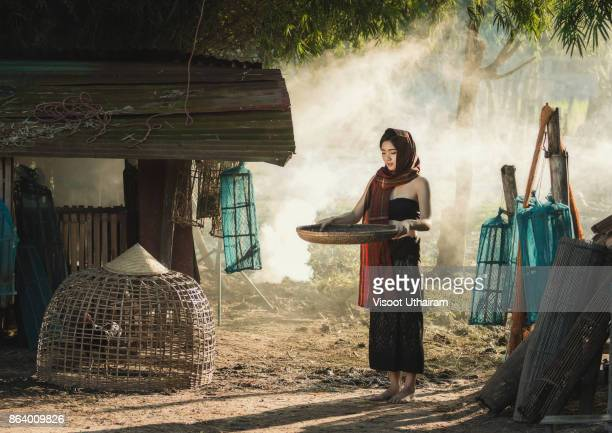 lifestyle of rural asian women in the field countryside thailand. - pretty vietnamese women stock photos and pictures
