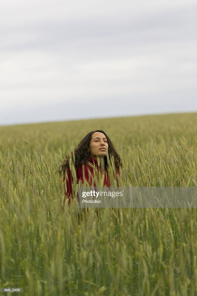 lifestyle shot of a young adult woman as she sits in the middle of tall green grass : Foto de stock