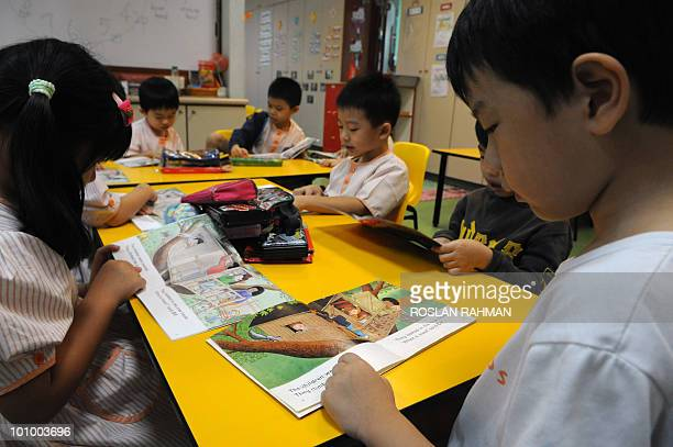 LifestyleAsialiteratureculture FEATURE by Idayu Suparto Children at a Childcare centre read their story books during a lesson in Singapore on May 25...