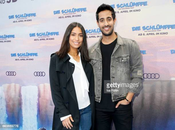 LifestyleBlogger and influencer Sami Slimani and his sister influencer Lamiya Slimani during the 'Die Schluempfe Das verlorene Dorf' premiere at Sony...