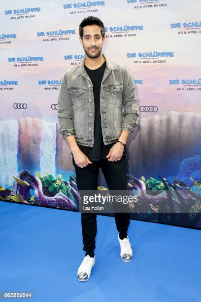 LifestyleBlogger and influencer Sami Slimani during the 'Die Schluempfe Das verlorene Dorf' premiere at Sony Centre on April 2 2017 in Berlin Germany