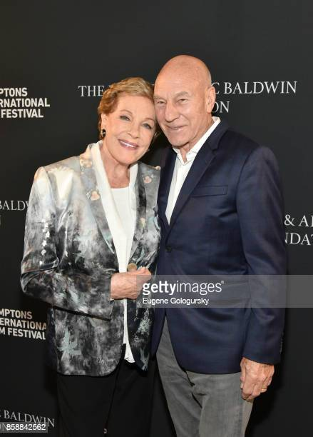 Lifetime Achievement Award recipient Julie Andrews and Patrick Stewart attend Lifetime Achievement Award Reception at Suna Residence during Hamptons...