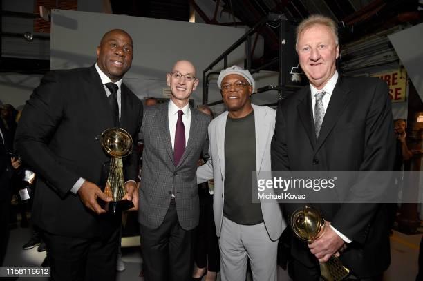 Lifetime Achievement Award recipient Magic Johnson NBA Commissioner Adam Silver Samuel L Jackson and Lifetime Achievement Award recipient Larry Bird...