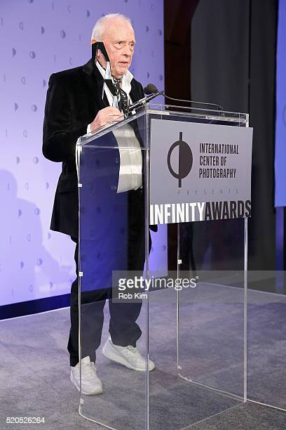 Lifetime Achievement Award recipient, photographer David Bailey speaks on stage during the International Center Of Photography's 2016 Infinity awards...