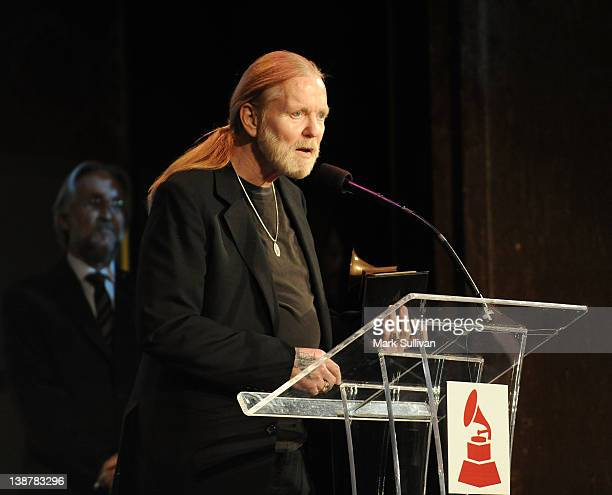 Lifetime Achievement Award winner Gregg Allman accepts his GRAMMY at The 54th Annual GRAMMY Awards Special Merit Awards Ceremony at The Wilshire...