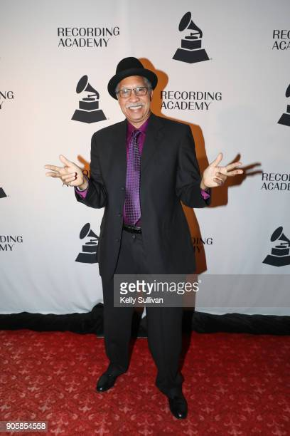 Lifetime Achievement Award Winner Joseph 'Zigaboo' Modeliste of The Meters poses for a photo on the red carpet at the San Francisco 60th GRAMMY Award...