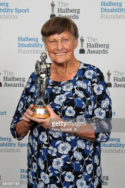 Lifetime Achievement Award winner Myra Larcombe at the 54th Halberg Awards at Vector Arena on February 9 2017 in Auckland New Zealand