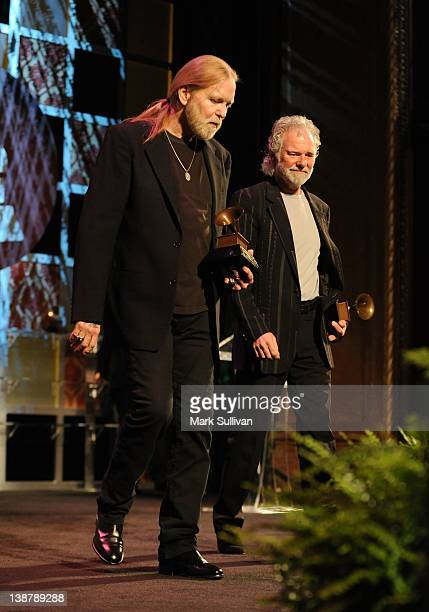Lifetime Achievement Award winners Gregg Allman and Chuck Leavell accept their GRAMMY at The 54th Annual GRAMMY Awards Special Merit Awards Ceremony...