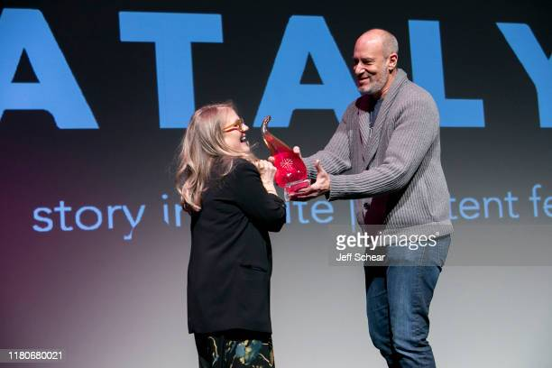 Lifetime Achievement Awards Honoree Nancy Cartwright and Chairman of the Abrams Artists Agency Adam Bold attend the Catalyst Content Festival on...