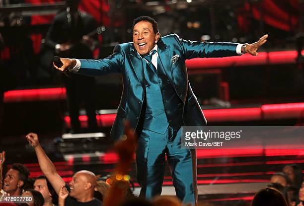 Lifetime Achievement honoree Smokey Robinson performs onstage during the 2015 BET Awards at the Microsoft Theater on June 28 2015 in Los Angeles...