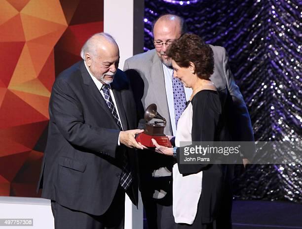 Lifetime Achievement recipient Federico Britos musician Ed Calle and María Cristina García Cepeda onstage at the 2015 Latin Recording Academy Special...
