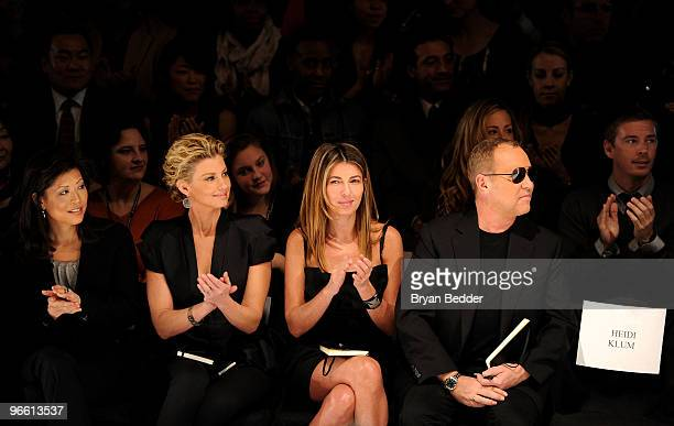 Lifetime CEO Andrea Wong singer Faith Hill Fashion Director of Elle and Marie Claire Nina Garcia and designer Michael Kors attend Project Runway Fall...