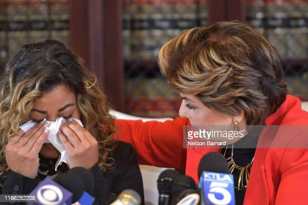 """Lifetime documentary """"Surviving R. Kelly"""" witness Lizzette Martinez holds a press conference with her attorney Gloria Allred on August 05, 2019 in..."""