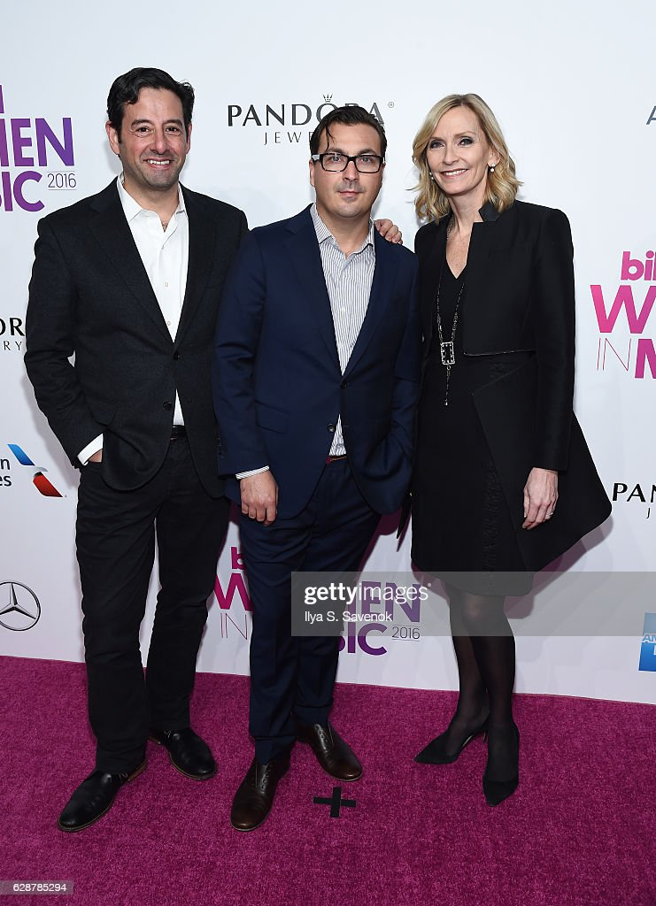 E & Lifetime, Rob Sharenow, President of The Hollywood Reporter & Billboard, John Amato and EVP Head of Programming Lifetime, Liz Gateley attend Billboard Women In Music 2016 Airing December 12th On Lifetime at Pier 36 on December 9, 2016 in New York City.