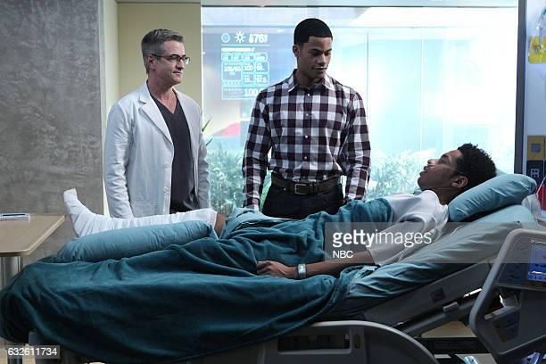 GENIUS 'Lift Me Up' Episode 113 Pictured Dermot Mulroney as Dr Walter Wallace Jordan Calloway as Henry Jones Dante Swain as Free