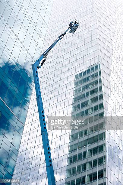 lift near glass buildings - eric van den brulle stock pictures, royalty-free photos & images
