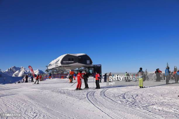 lift station at grafenberg in wagrain, austria - pejft stock pictures, royalty-free photos & images