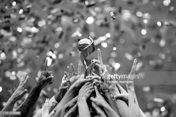 Lift the trophy after victory in the 2019 FIFA Women's World Cup France Final match between The United State of America and The Netherlands at Stade...