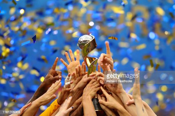 USA lift the trophy after victory in the 2019 FIFA Women's World Cup France Final match between The United State of America and The Netherlands at...