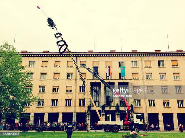 Lifting Maypole in Nova Gorica Europe