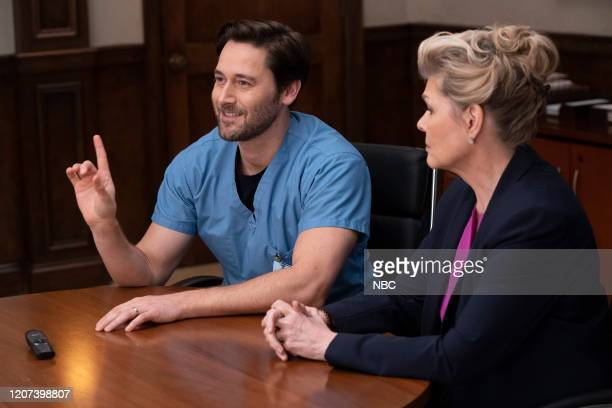 NEW AMSTERDAM Liftoff Episode 217 Pictured Ryan Eggold as Dr Max Goodwin Debra Monk as Karen Brantley