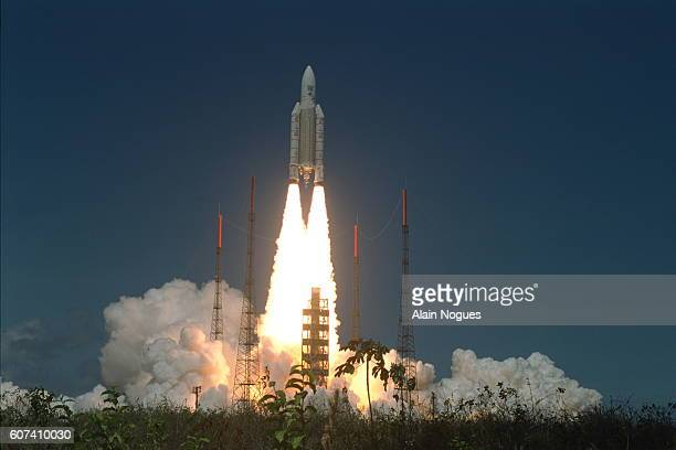 Liftoff of the rocket that is carrying out its first commercial flight