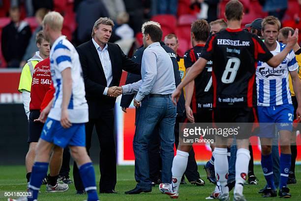 Liga Coach Lars Olsen OB Coach Thomas Thomasberg FCM FC Midtjylland © Lars Rønbøg / Frontzonesportdk