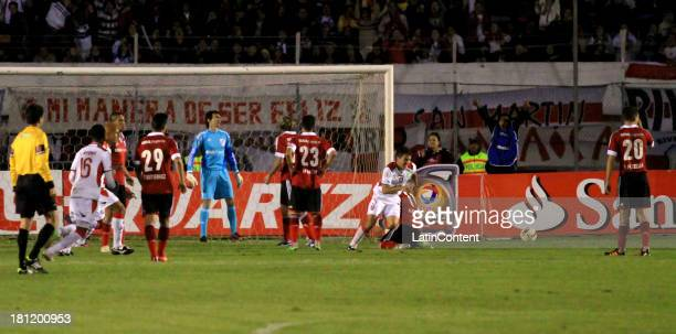 Liga de Loja´s midfielder Pedro Sebastián Larrea celebrates his goal during a match between Liga de Loja and River Plate as part of the Copa Total...