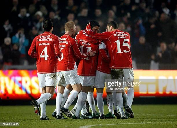 Liga Players from Vejle celebrating the goal from Brian Nielsen VB Vejle Boldklub © Jan Christensen / Frontzonesportdk