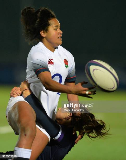 Liga Tuima of England is tackled by Lisa Thomson of Scotland during the Natwest Women's Six Nations match between Scotland Women and England Women at...