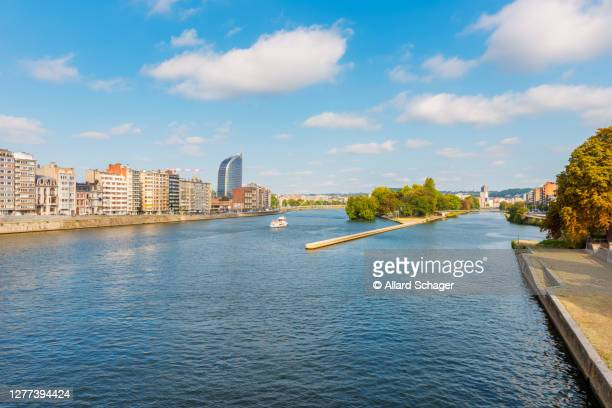 liège and meuse river in belgium - liege stock pictures, royalty-free photos & images